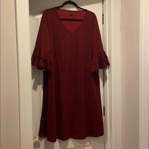 Never worn! Burgundy dress with flutter sleeves